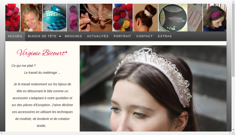 Capture d'écran du site de Virginie Becourt