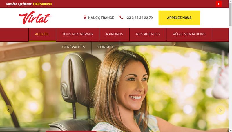Capture d'écran du site de Auto Ecole Virlat