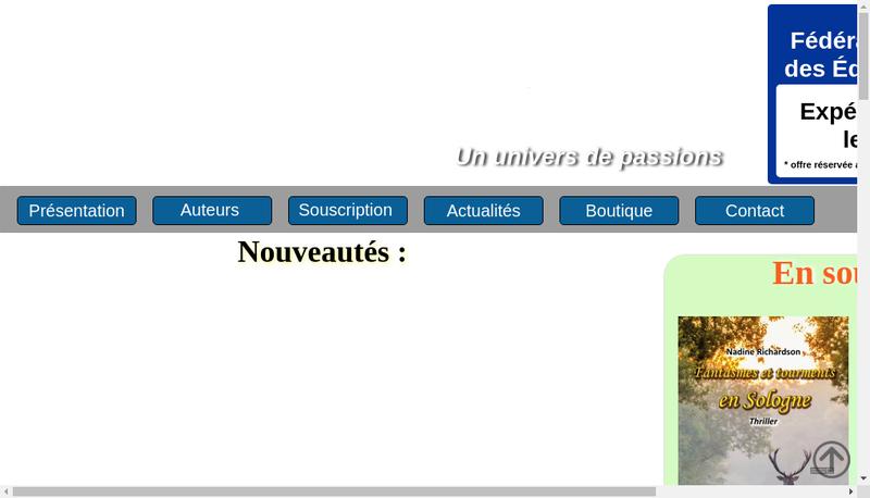 Capture d'écran du site de Les Editions du Jeu de l'Oie