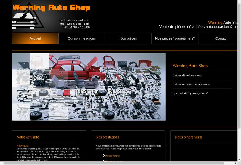 Capture d'écran du site de Warning Auto Shop
