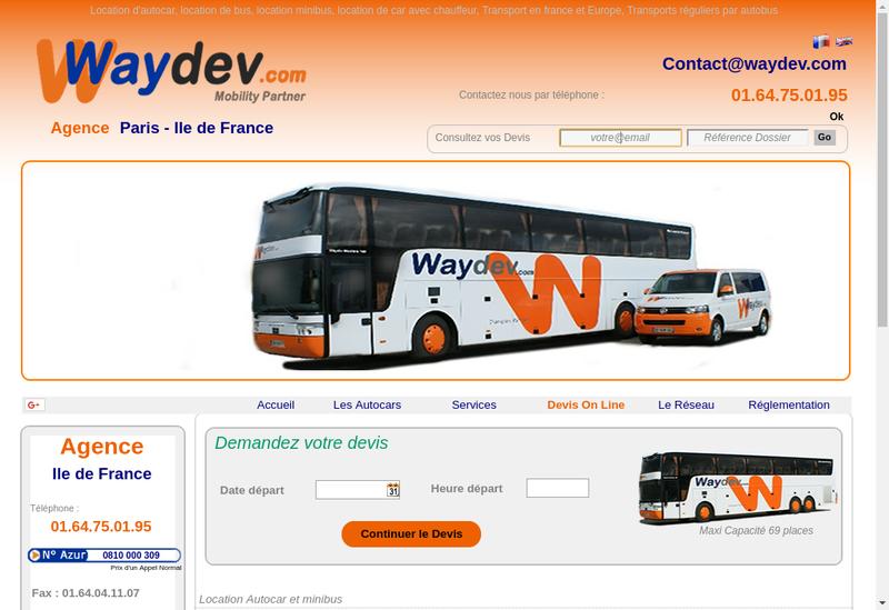 Capture d'écran du site de Waybus