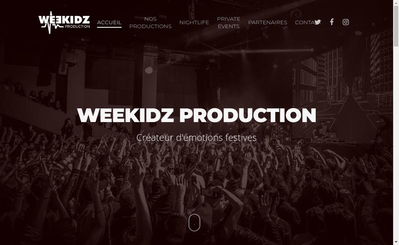 Capture d'écran du site de Weekidz Production
