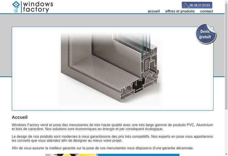 Capture d'écran du site de Windows Factory