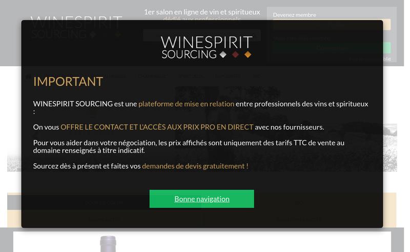 Capture d'écran du site de Winespirit Sourcing