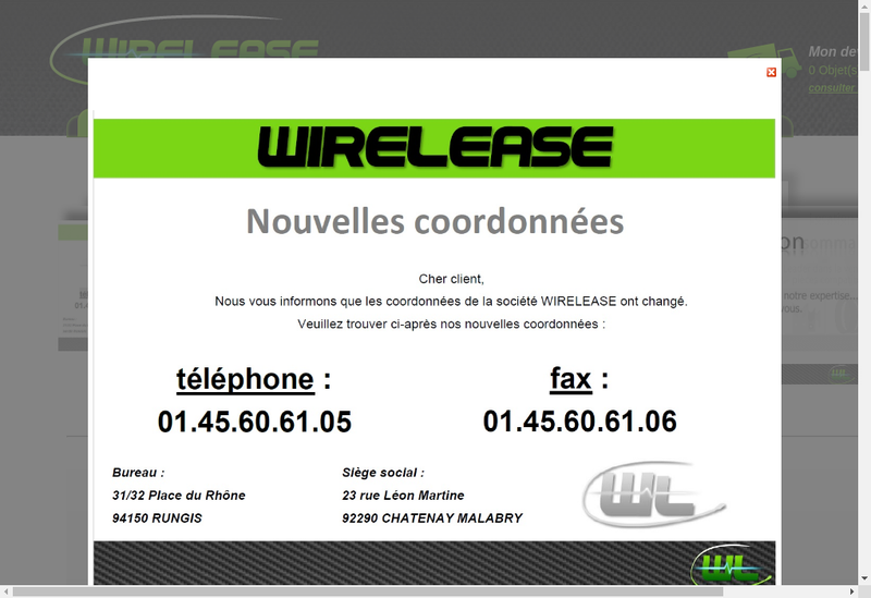 Capture d'écran du site de Wirelease