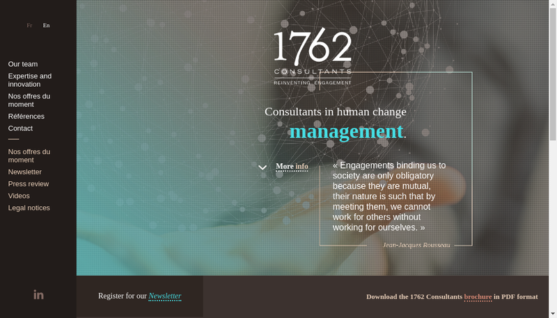 Capture d'écran du site de 1762 Consultants