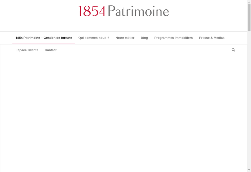 Capture d'écran du site de 1854 Patrimoine