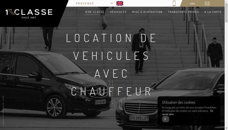 Capture d'écran du site de Transport 1Ere Classe