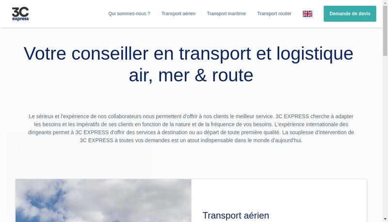 Capture d'écran du site de 3C Express