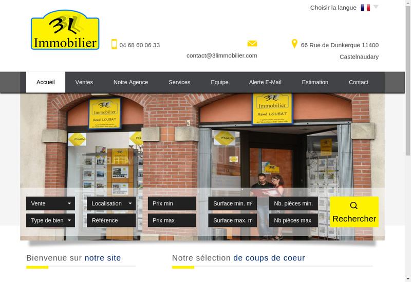 Capture d'écran du site de 3L Immobilier