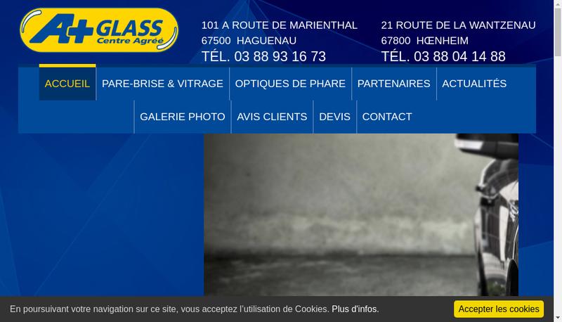 Capture d'écran du site de À Glass