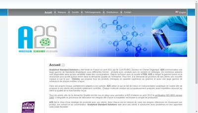 Site internet de Analytical Standard Solutions (A2S)