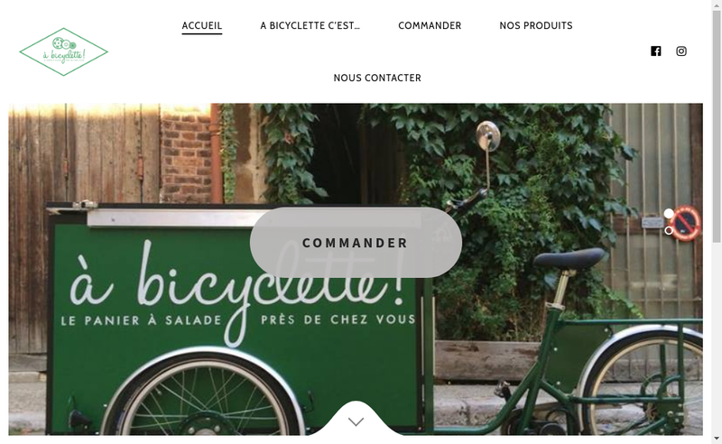 Capture d'écran du site de A Bicyclette