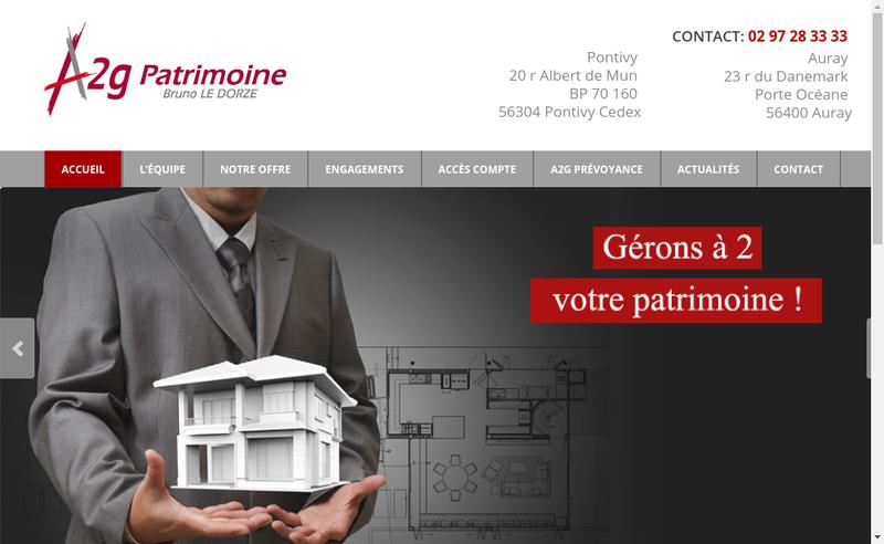 Capture d'écran du site de A2G Patrimoine