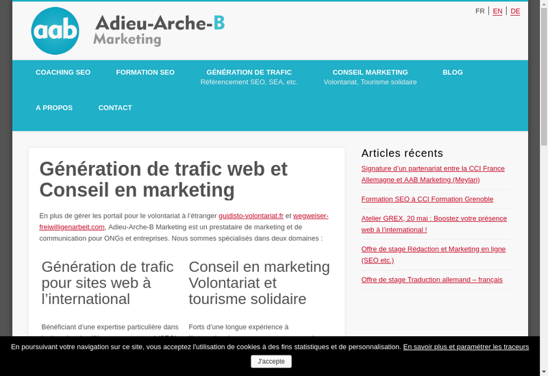 Capture d'écran du site de Adieu Arche B Marketing