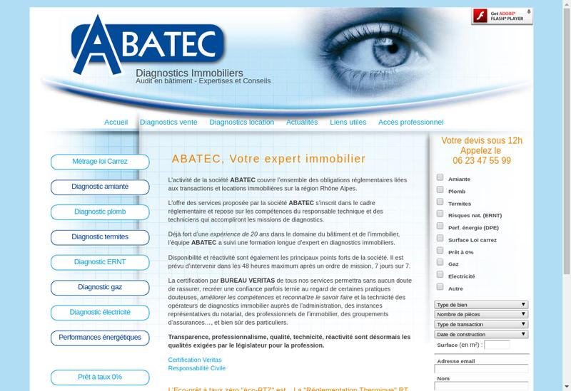 Capture d'écran du site de Abatec
