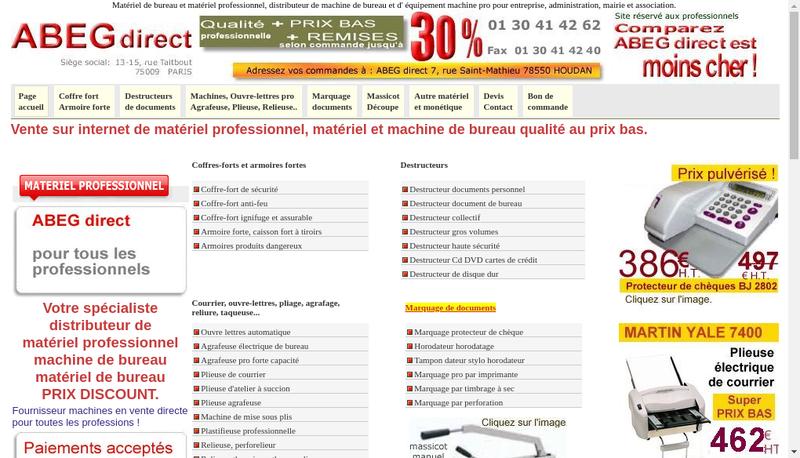 Capture d'écran du site de Abeg Direct