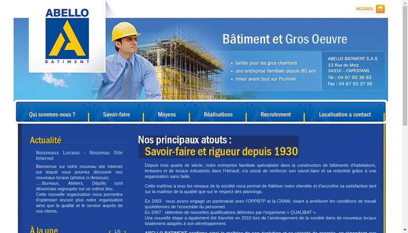 Capture d'écran du site de Abello Batiment