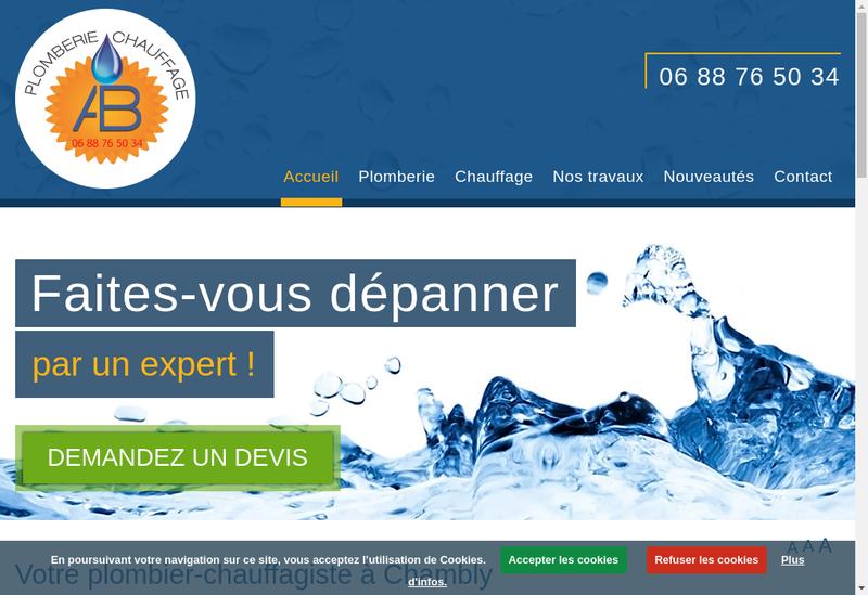 Capture d'écran du site de Ab Plomberie Chauffage