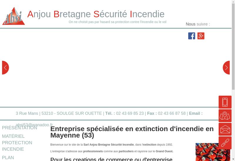 Capture d'écran du site de Anjou Bretagne Securite Incendie