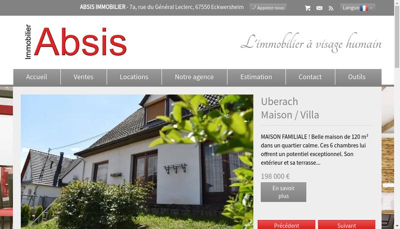 Capture d'écran du site de Absis Immobilier