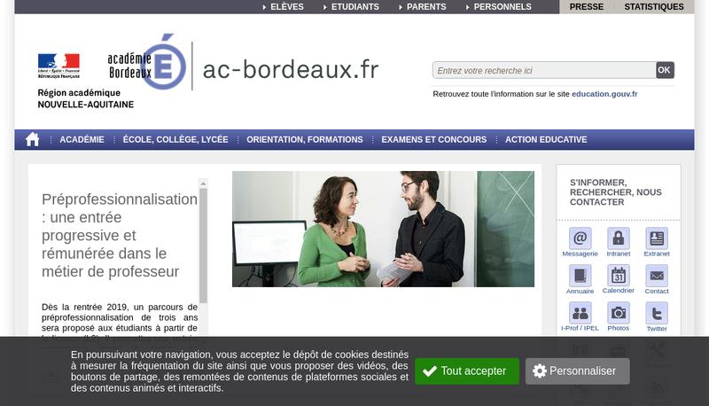 Capture d'écran du site de Imagine Bordeaux