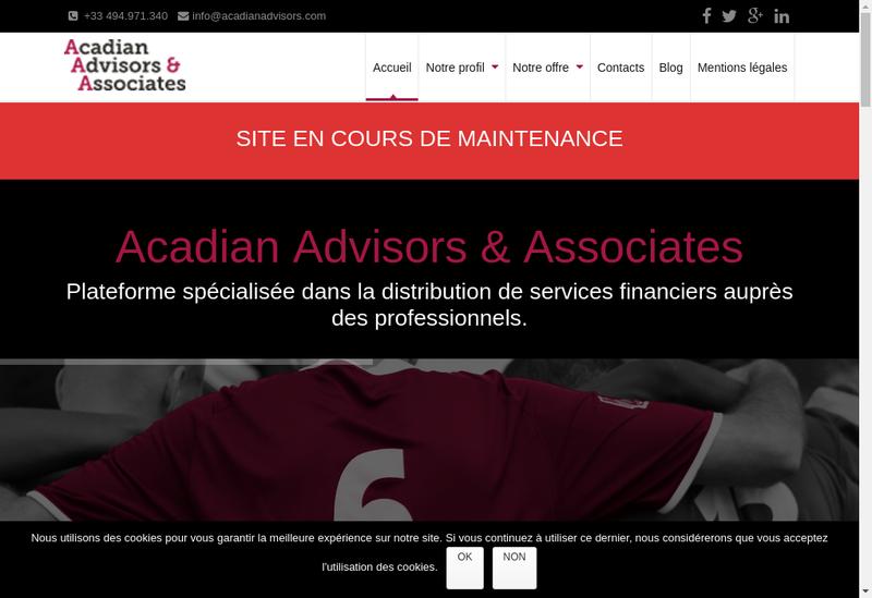 Capture d'écran du site de Acadian Advisors & Associates