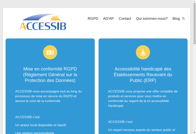 Capture d'écran du site de Accessib