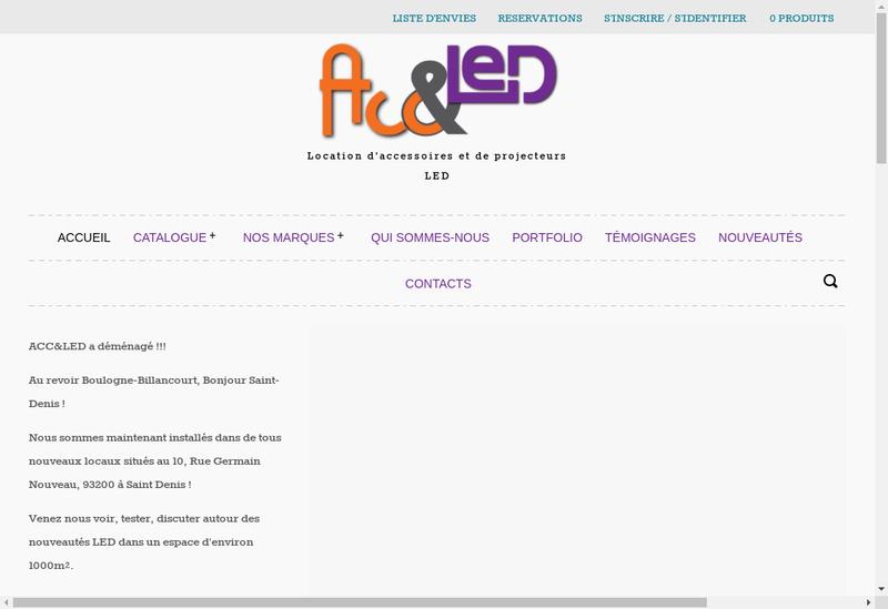 Capture d'écran du site de Acc & Led