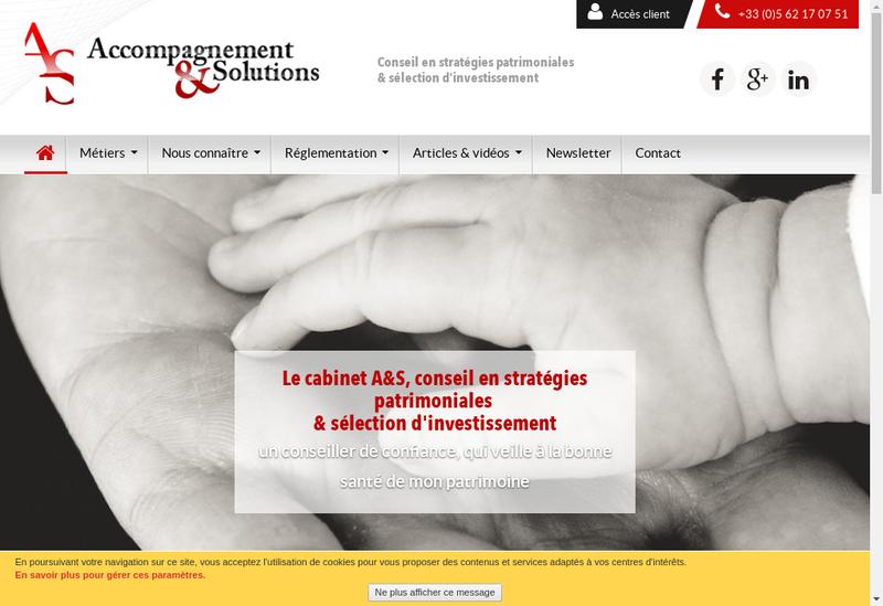 Capture d'écran du site de Accompagnement Solutions
