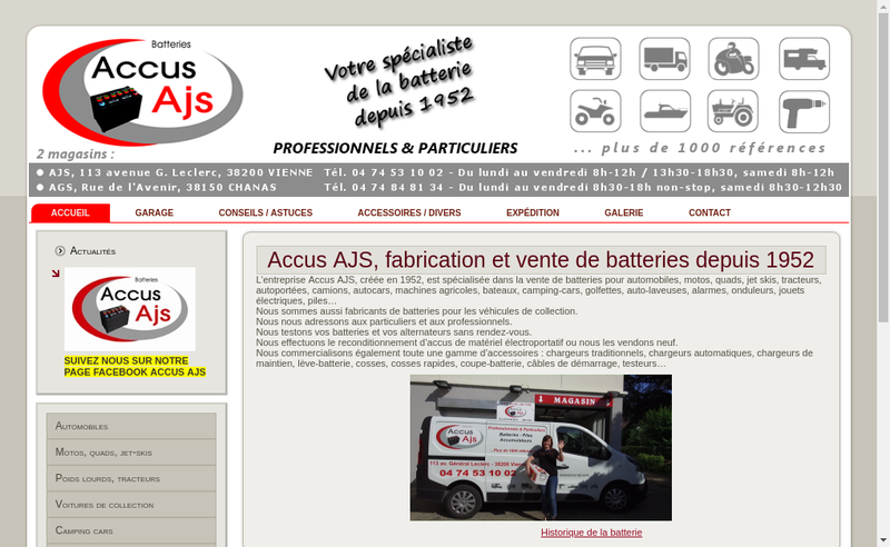 Capture d'écran du site de Accus Ajs