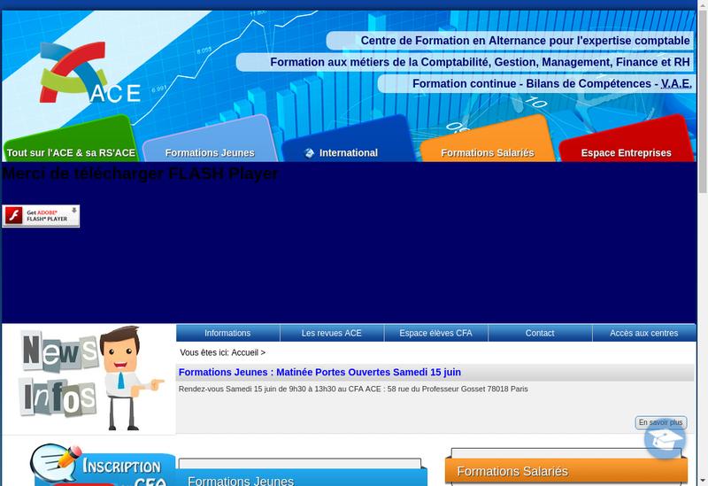 Capture d'écran du site de Ace