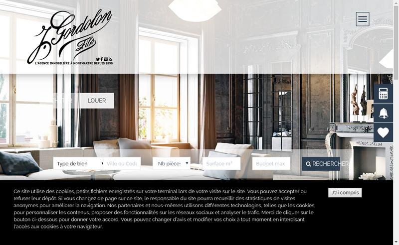 Capture d'écran du site de Etude Gordolon Haussmann Immobilier