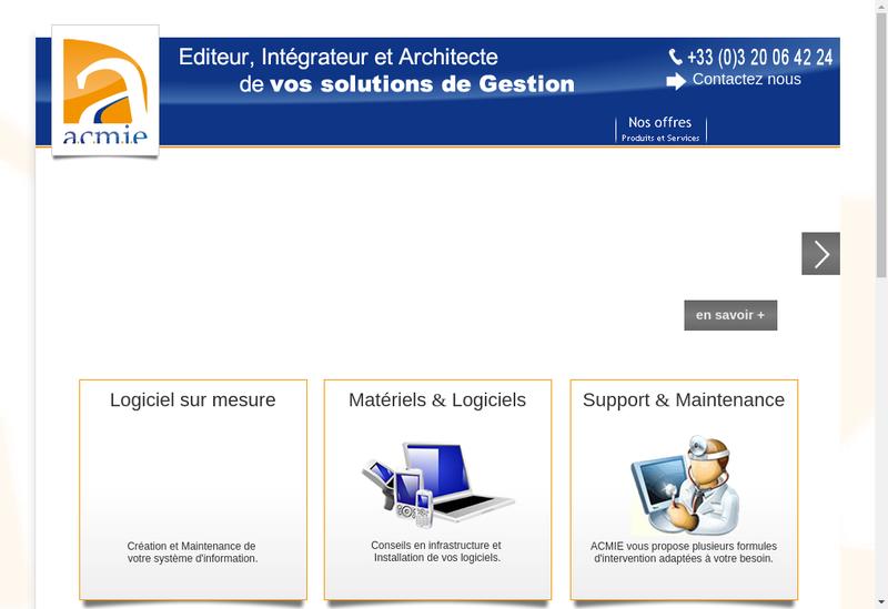 Capture d'écran du site de Acmie
