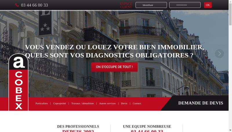 Capture d'écran du site de Acobex