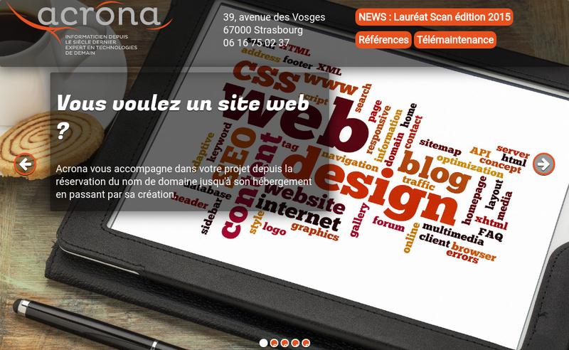 Capture d'écran du site de Acrona