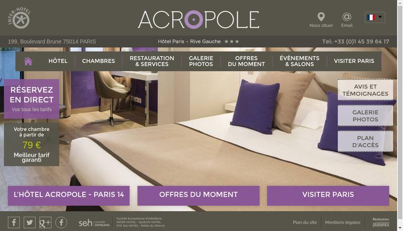 Capture d'écran du site de Hotel Acropole
