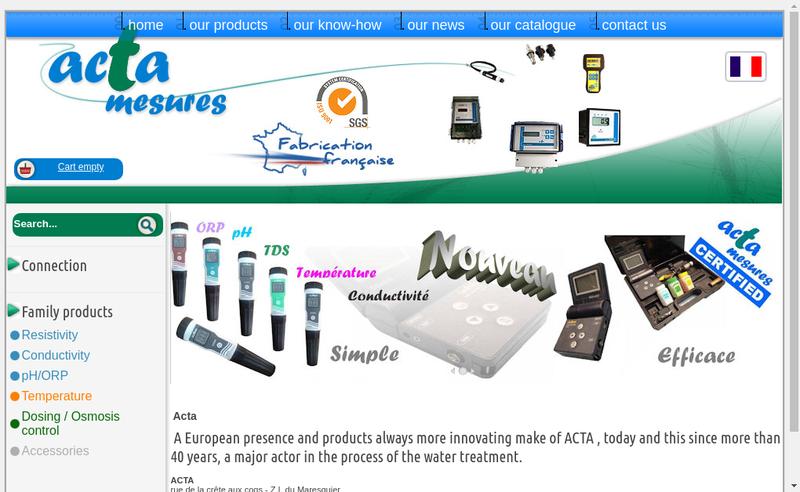 Capture d'écran du site de SA Acta
