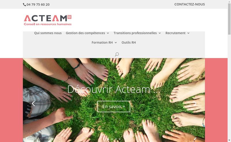 Capture d'écran du site de Acteam
