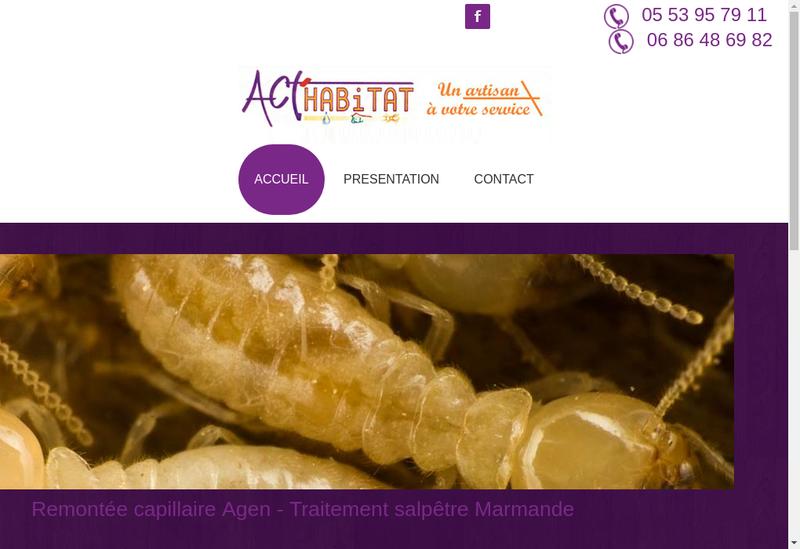 Capture d'écran du site de Act Habitat