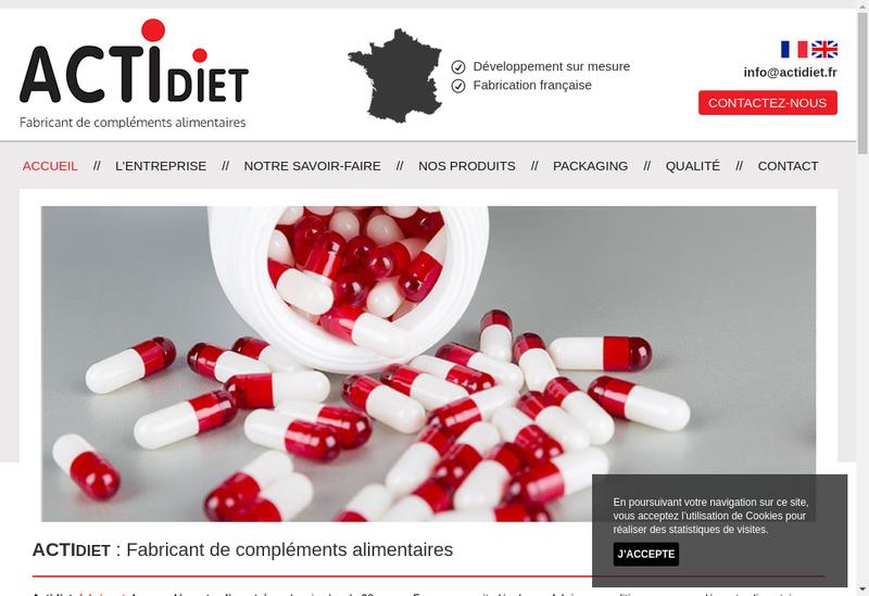 Capture d'écran du site de Actidiet