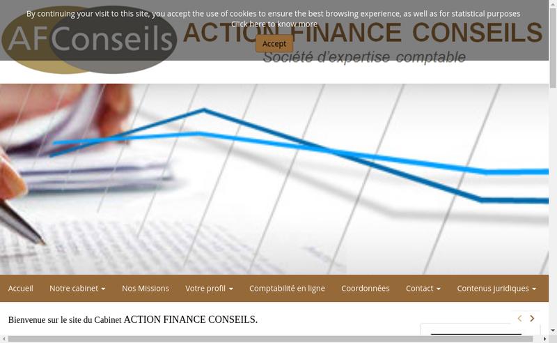 Capture d'écran du site de Action Finance Conseils