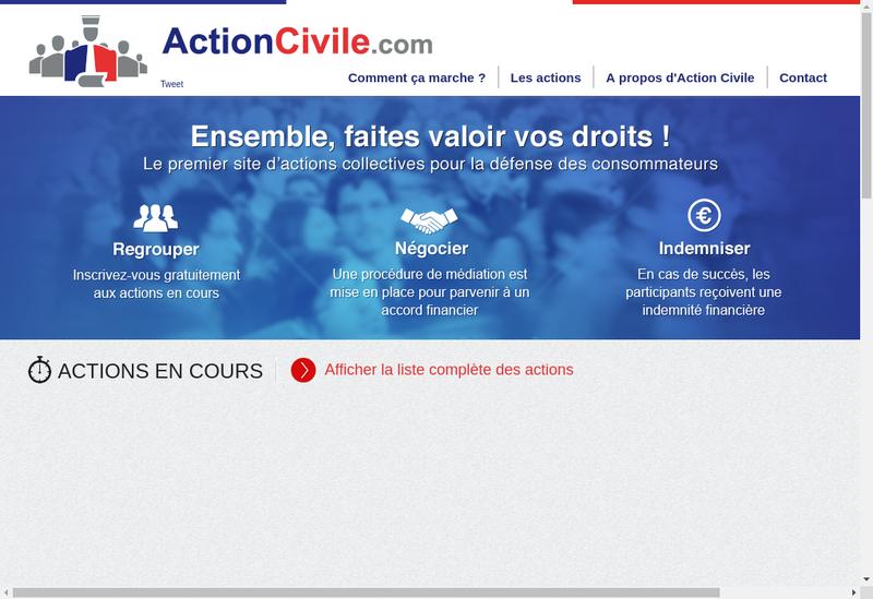 Capture d'écran du site de Action Civile