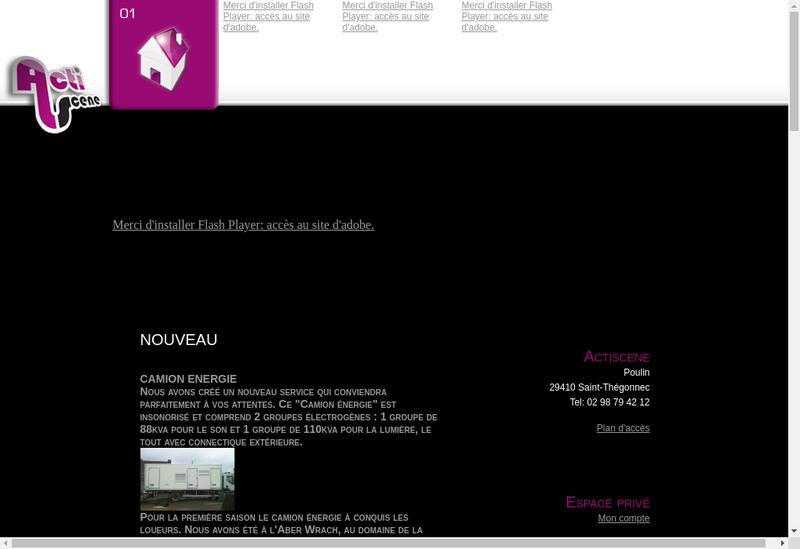 Capture d'écran du site de Actiscene