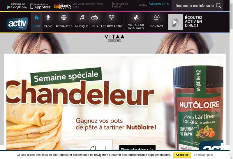 Capture d'écran du site de Activ Radio