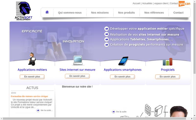 Capture d'écran du site de Yoocan