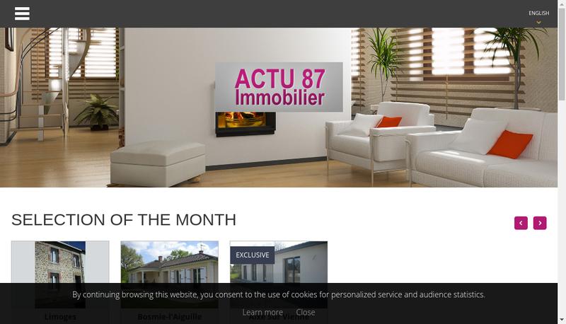 Capture d'écran du site de Actu 87 Immobilier