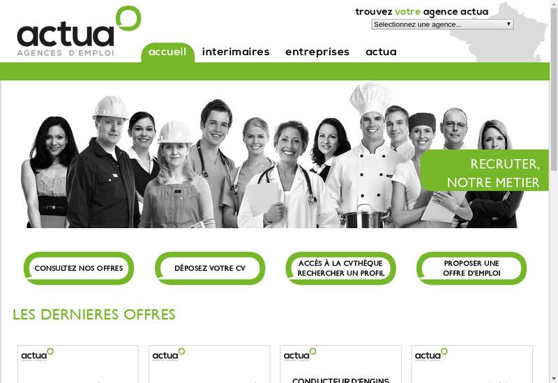 Capture d'écran du site de Actua