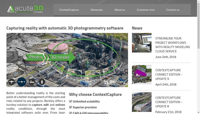 Capture d'écran du site de Acute3D