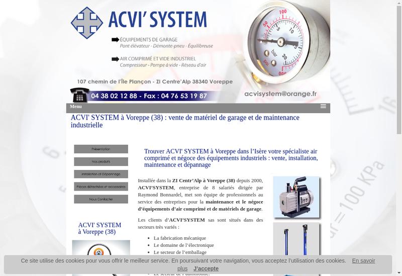 Capture d'écran du site de Acvi System